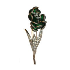Hattie Carnegie Floral Brooch with Poured Glass and Rhinestones