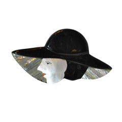 """Lucite & Mother-of-Pearl """"Lady with Hat"""" Huge Brooch"""