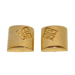 Givenchy Gilded Gold Signature Logo Earrings
