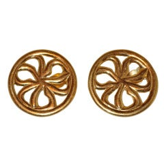 "Givenchy Gilded Gold Round ""Bow"" Earrings"