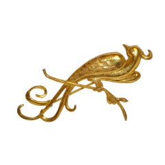 "Miriam Haskell Gilded Gold ""Phoenix"" Brooch"
