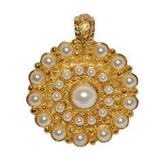 Guy Laroche Huge Gilded Gold & Pearl Pedant