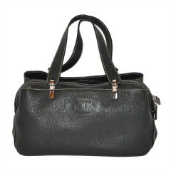 TOD's Textured Black Leather Three Compartment Handbag