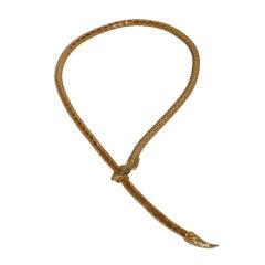 "Whiting & Davis Adjustable Gold Mesh ""Snake"" Necklace"