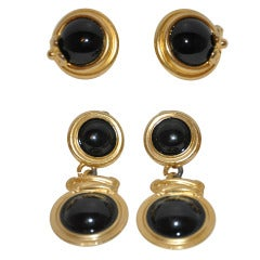 "Givenchy ""Set of Two"" Gilded Gold Earrings with Onyx"