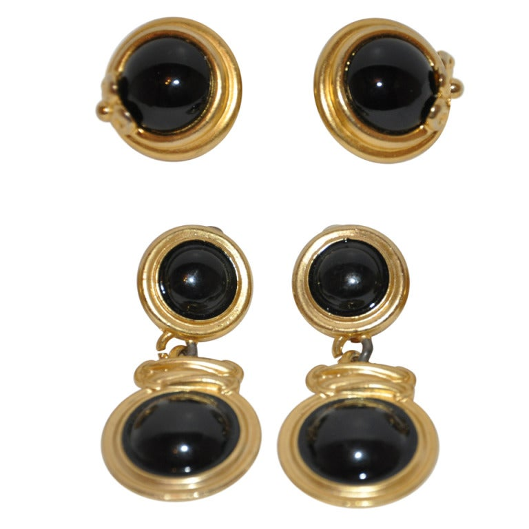 """Givenchy """"Set of Two"""" Gilded Gold Earrings with Onyx"""