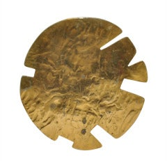 Mary McFadden Huge Gilded Gold Pendant
