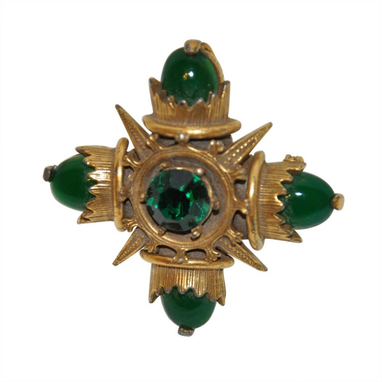 Eisenberg Large gold with Cabochon and Rhinestone Brooch and Pendant