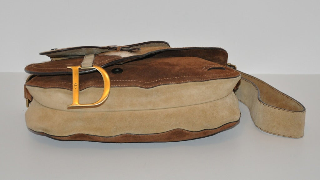 "Christian Dior Large ""Saddle"" Shoulder Bag In Excellent Condition For Sale In New York, NY"