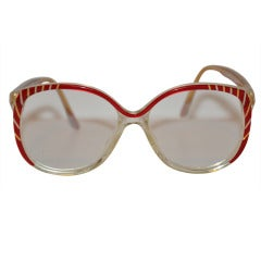 Balenciaga Red & Clear Lucite Frame Glasses