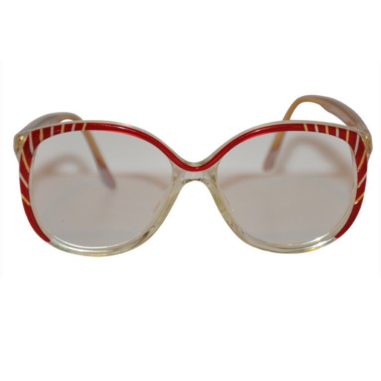 Custom Made Eyeglass Frames New York : Balenciaga Red and Clear Lucite Frame Glasses at 1stdibs