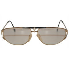 "Yves Saint Laurent Gold & Black ""Y"" Eyeglasses"