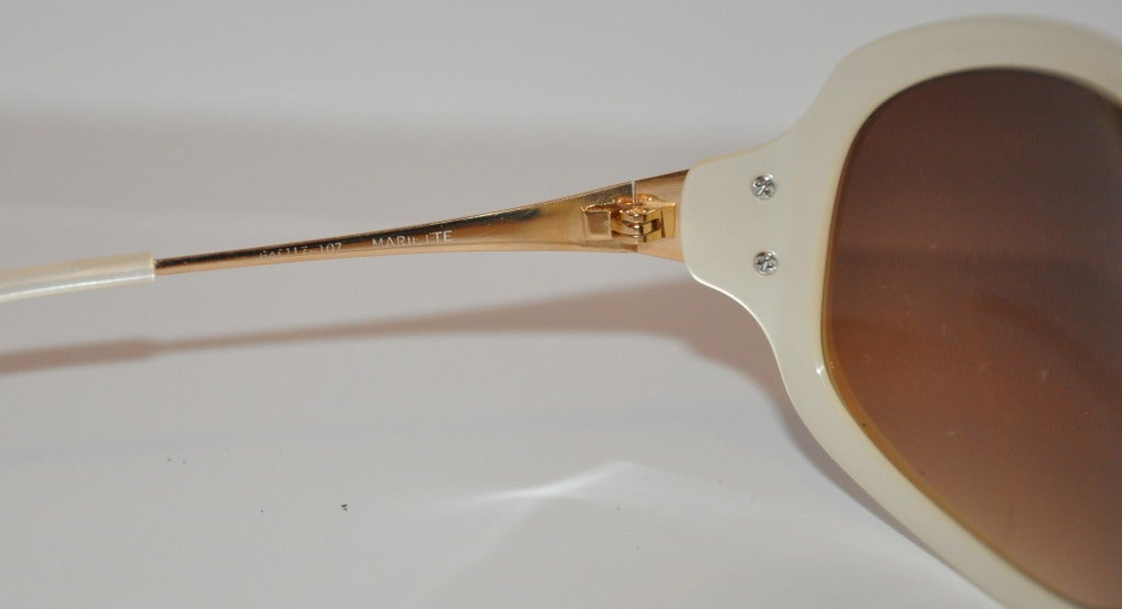 Women's Oliver Peoples Pearl Finished and Gold Sunglasses For Sale