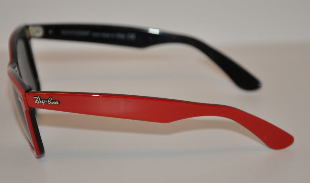 Ray-Ban Thick Red & Black Lucite Sunglasses 2