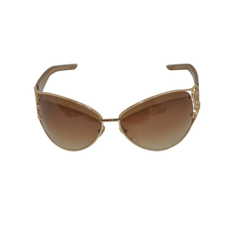 Yves Saint Laurent Gold Wrap-Around with Gold Etch Sunglasses