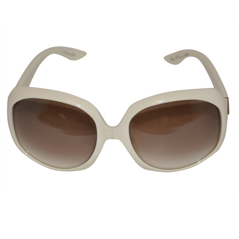 Dior Gold Frame Sunglasses : Christian Dior Cream with Gold Sunglasses at 1stdibs