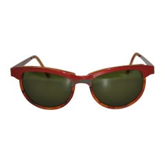 Oilily Textured Red and Green Hardware with Tortoise Shell Lucite Sunglasses