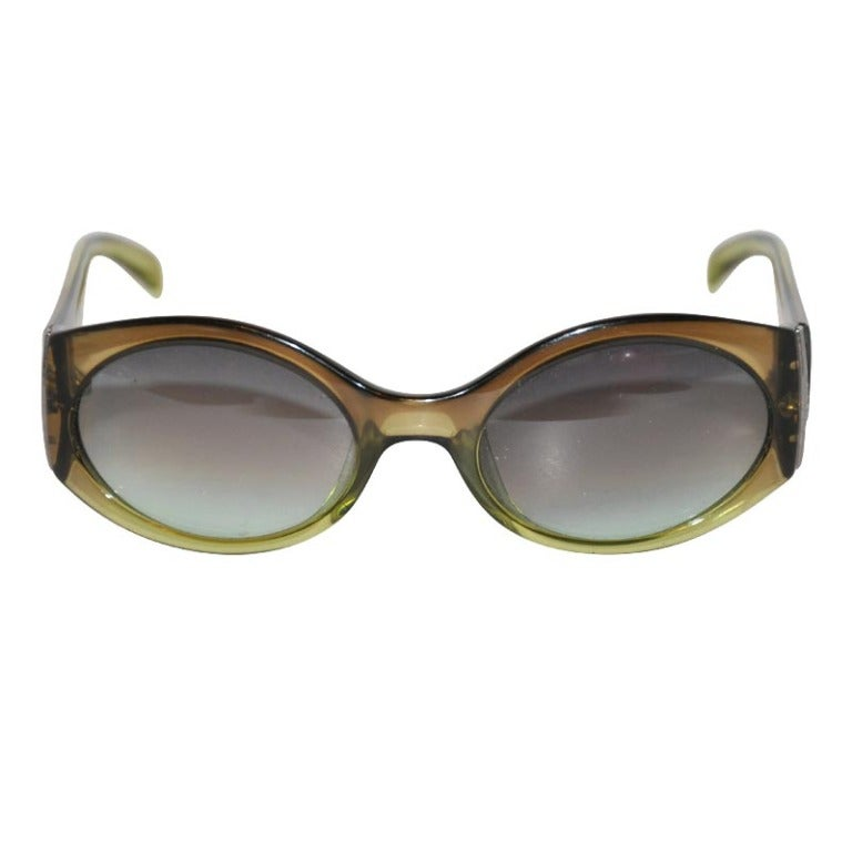 Christian Dior Clear Olive-Green Sunglasses For Sale