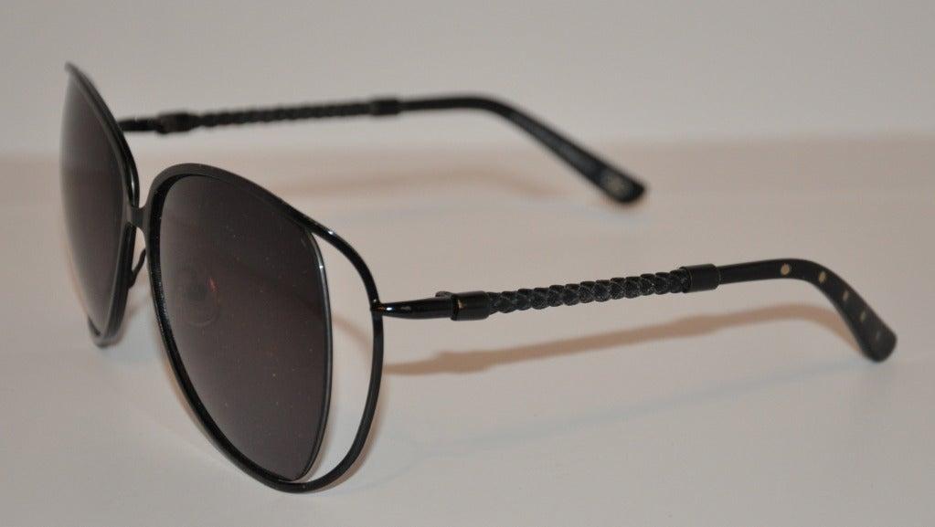 "Bottega Veneta ""Limited Edition"" Black with Woven Accent Sunglasses 3"