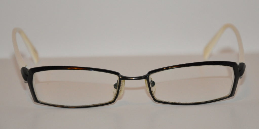 Kio Yamato Detailed Titanium Black and White Glasses For Sale at 1stdibs