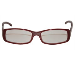 Prada Brick-Red Lucite with Silver Hardware Trim Glasses