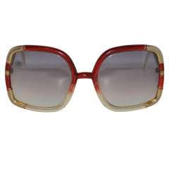 Burgundy and Clear with Gold Hardware Bamboo Sunglasses
