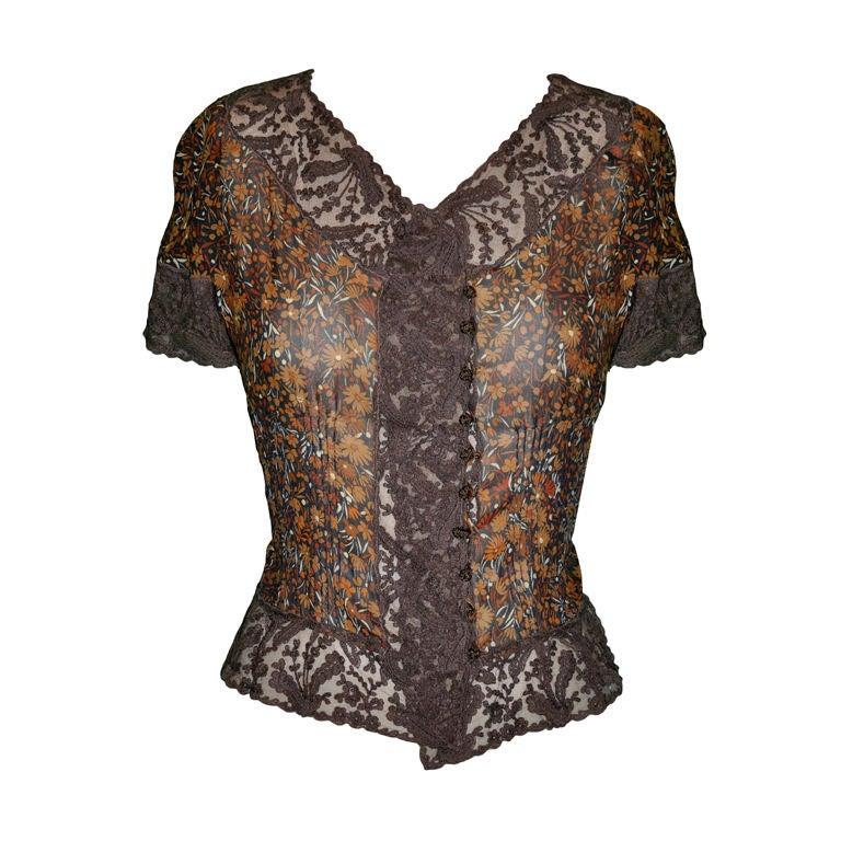 Valentino 'Boutique' Floral chiffon & Lace top