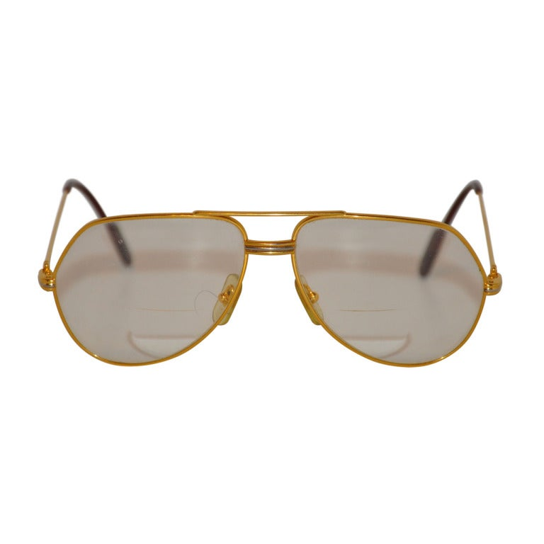 Mens Yellow Frame Sunglasses : Cartier Mens 18K Gold Frame Glasses For Sale at 1stdibs