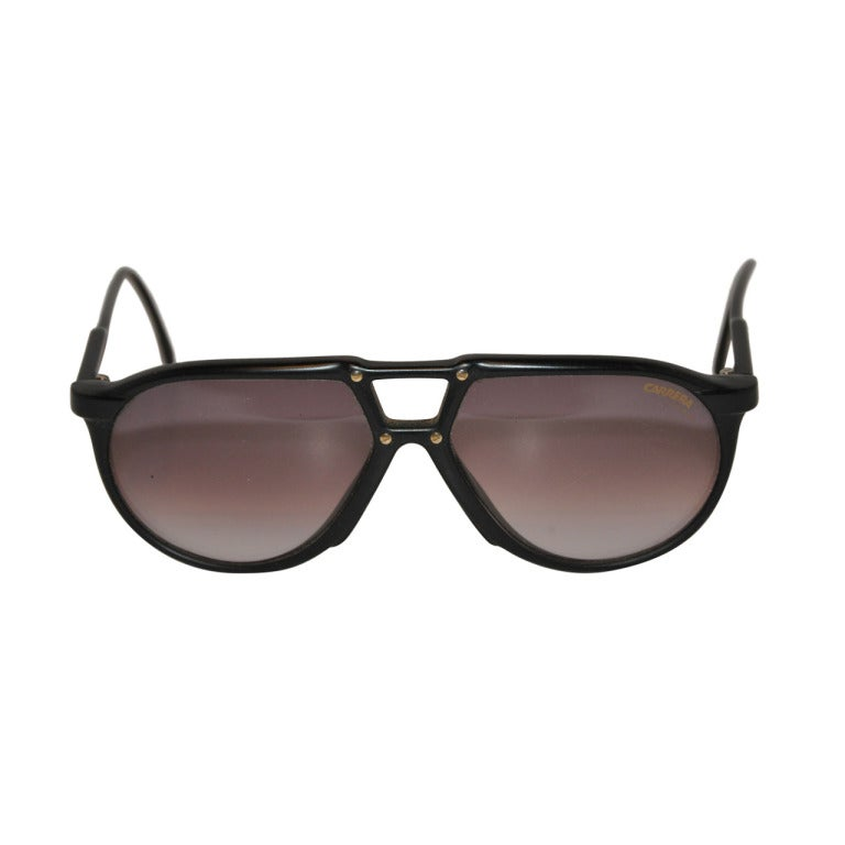 Gold Frame Carrera Sunglasses : Carrera Black Frame with Gold Stud Sunglasses at 1stdibs