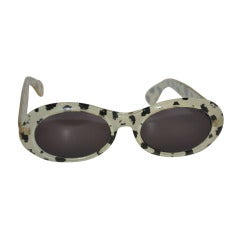 "Black & White ""Leopard"" Print with Clear-Lucite-Finish Sunglasses"