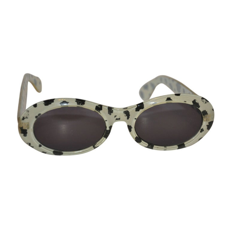 """Black & White """"Leopard"""" Print with Clear-Lucite-Finish Sunglasses"""
