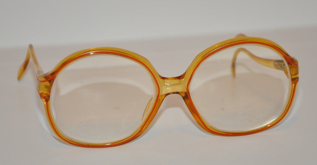 Glasses With Yellow Frame : Clear Yellow with Red Trim Frame Glasses For Sale at 1stdibs