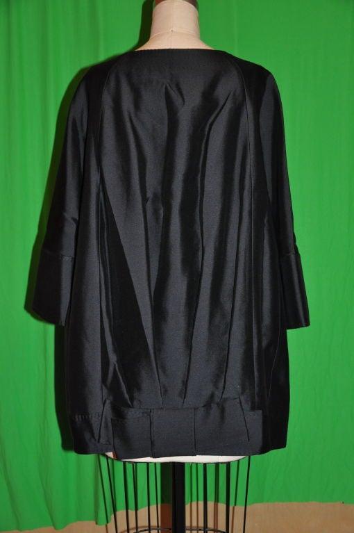 Black Wool/Silk Organza Cocktail Jacket For Sale
