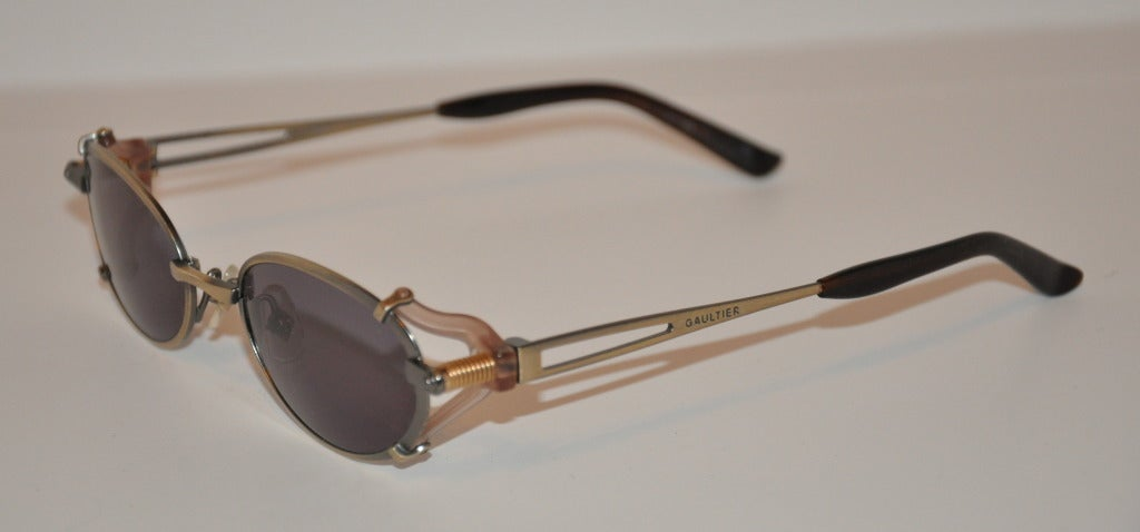 "Jean Paul Gaultier Gun-Metal ""Spring-Action"" Sunglasses 2"