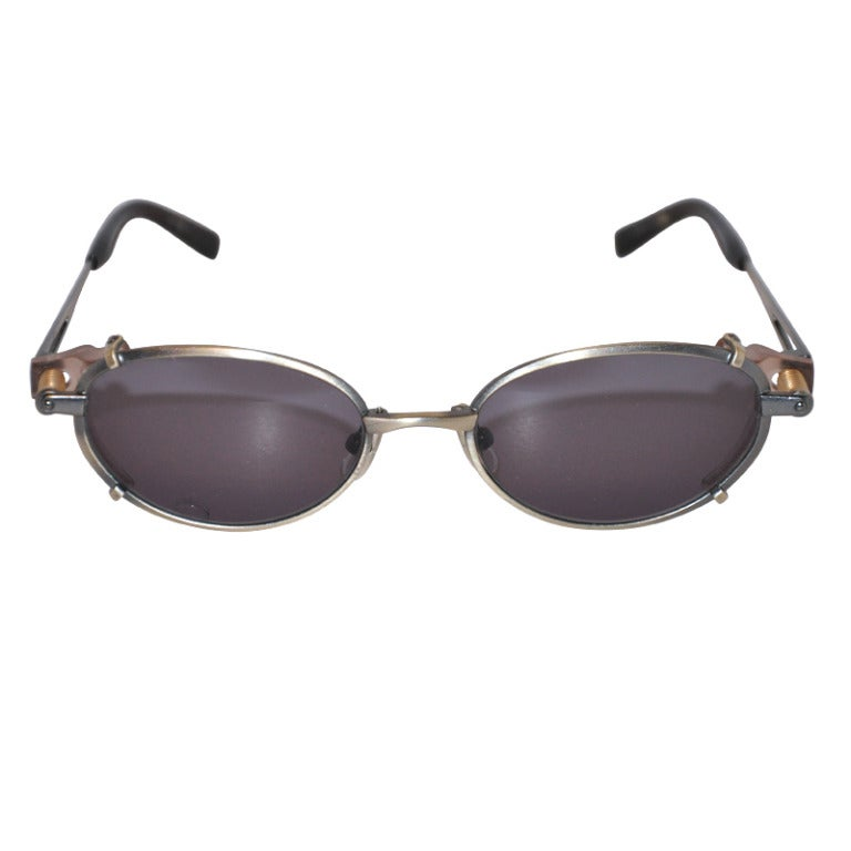 "Jean Paul Gaultier Iconic Gun-Metal ""Spring-Action"" Sunglasses For Sale"