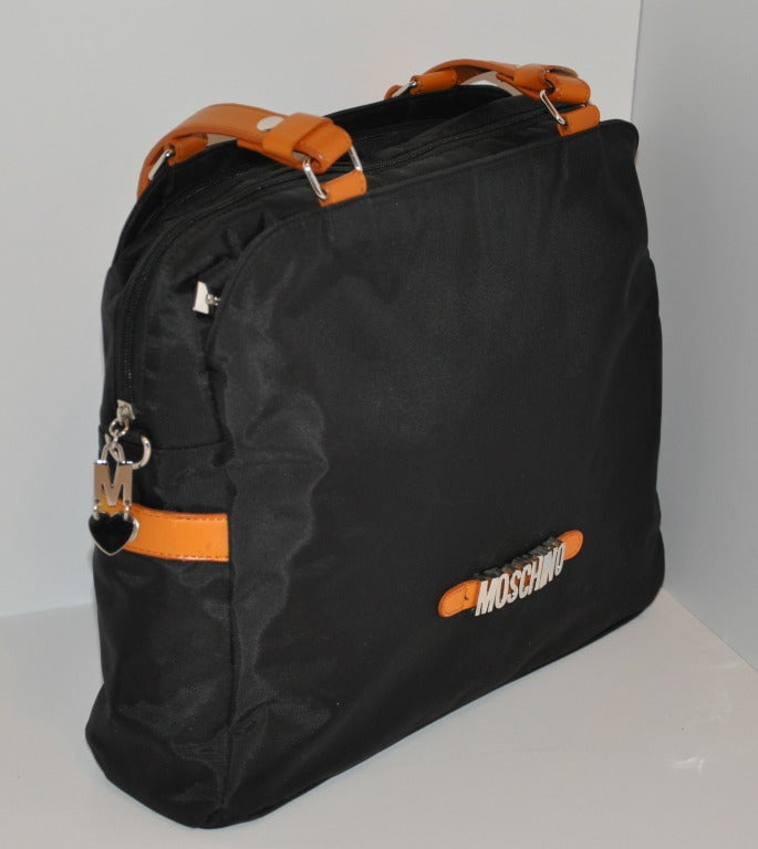 Moschino Signature Logo Black & Leather Shoulder Bag. 2