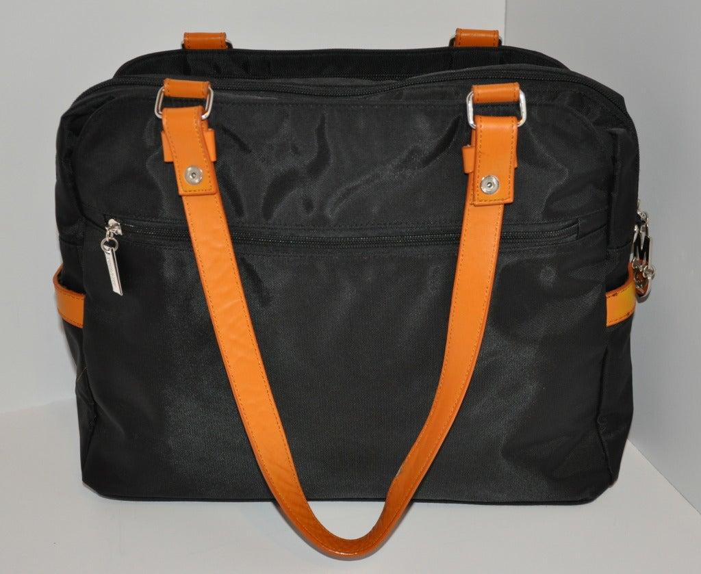 Moschino Signature Logo Black & Leather Shoulder Bag. 3