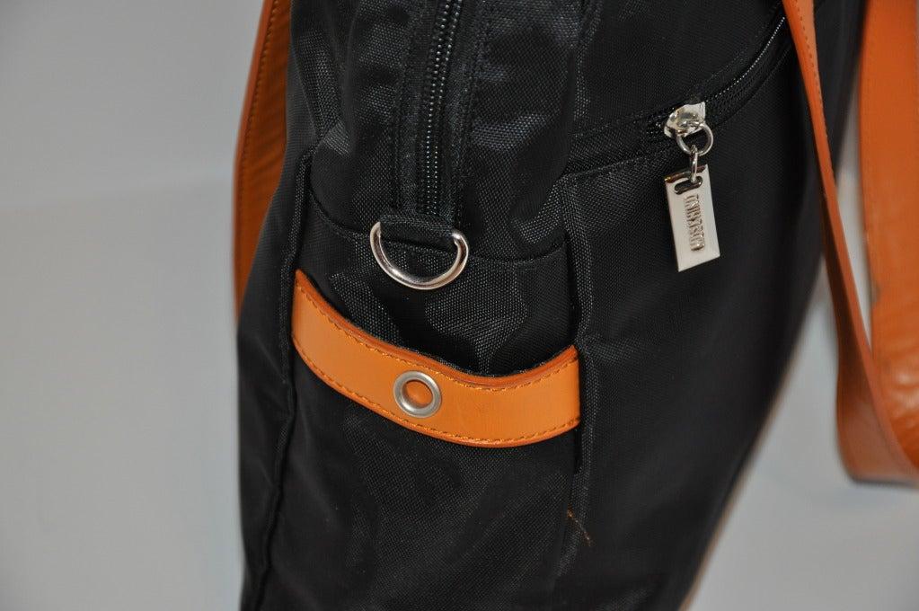 Moschino Signature Logo Black & Leather Shoulder Bag. 4