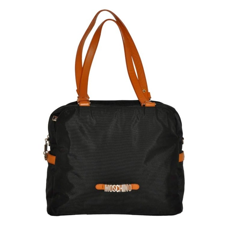 Moschino Signature Logo Black & Leather Shoulder Bag. For Sale