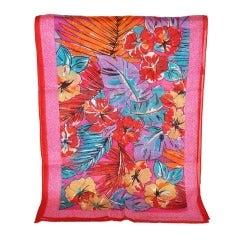 Albert Nipon Cotton Multi-Color Floral Scarf