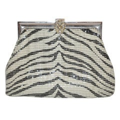 Whiting & Davis Black & White Striped Print Hardware Mesh Handbag