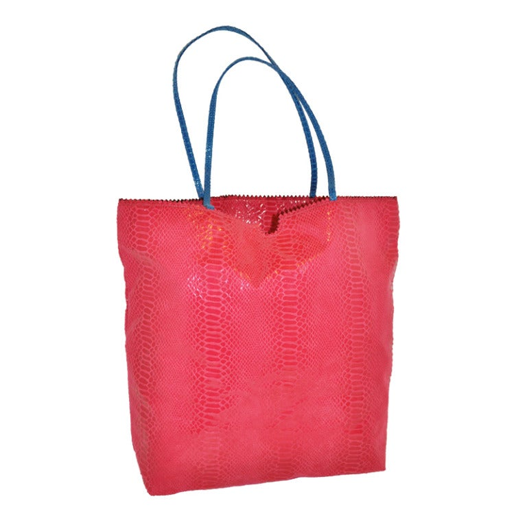 Carlos Falchi Huge Fuchsia And Turquoise Embossed Tote