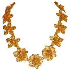 Kenneth Jay Lane Gilded Gold Floral Necklace with Attachment