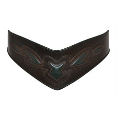 Detailed Belt with Piping and Embellished Leather Stitching