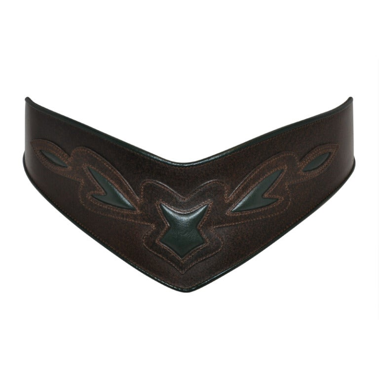 Detailed Belt with Piping and Embellished Leather Stitching 1