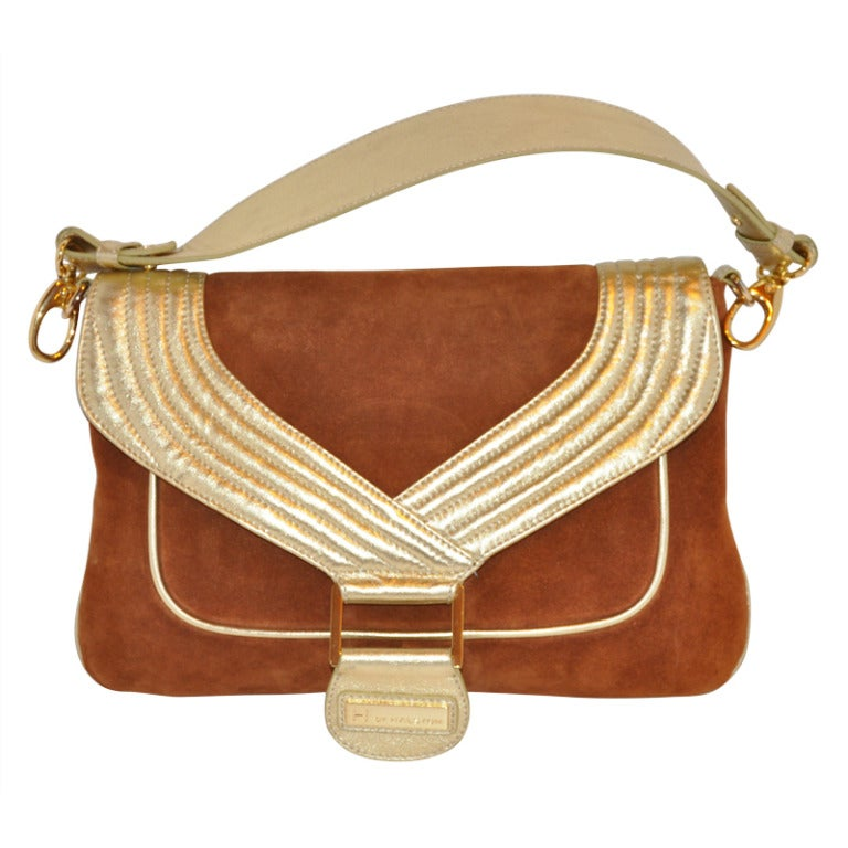 Halston Brown Suede and Metallic Gold Leather Handbag For Sale at 1stdibs 36c8c50c761fc