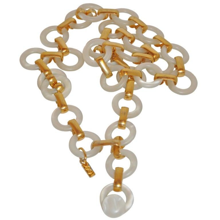 Yves Saint Laurent Lucite & Gold Hardware Chain Belt