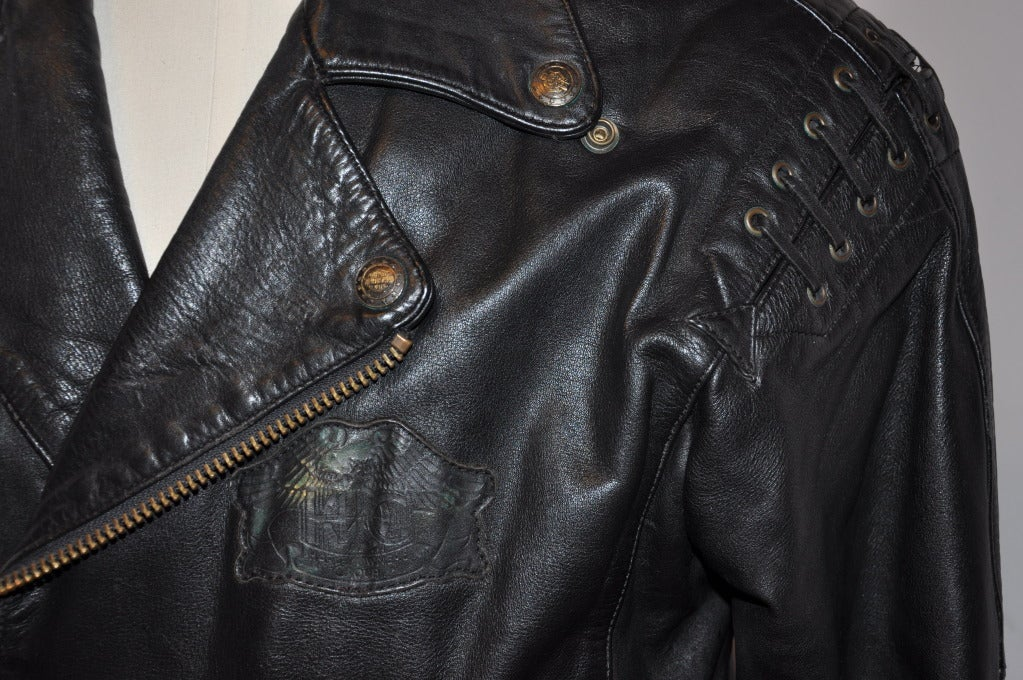 Harley Davidson Black Leather Men S Detailed M C Jacket