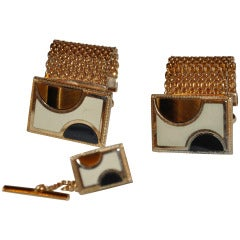 Tiger-Eye & Black Onyx Cufflinks & Matching Tie Pin