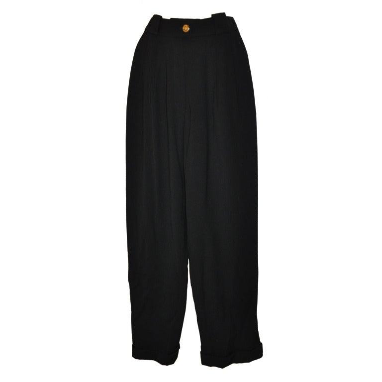 "Chanel ""Boutique"" Black Wide-Legged Trousers"